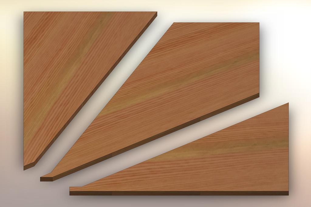 Douglas Fir Winder Treads cut into three pieces.