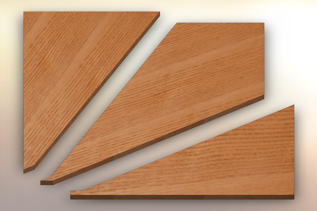 Quarter Sawn Red Oak Winder Treads cut into three pieces.