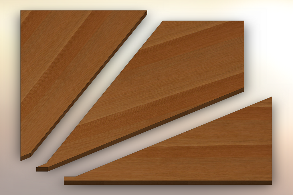 Rift Sawn White Oak Winder Treads cut into three pieces.