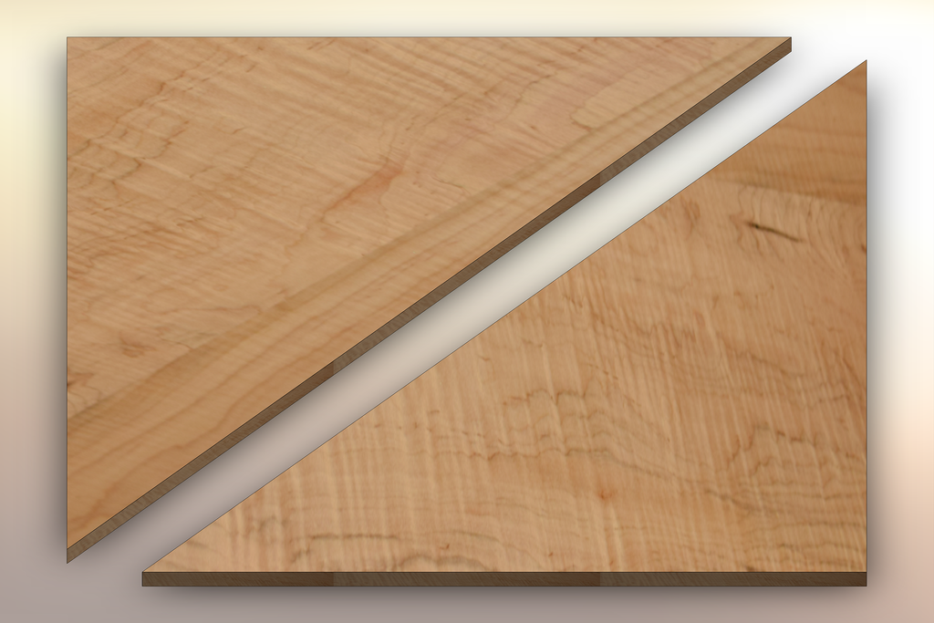 Curly Maple Winder Treads diagonally cut into two pieces.