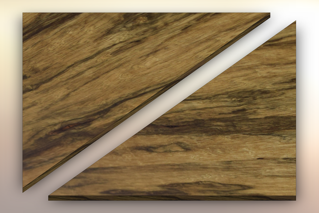 Black Limba Winder Treads diagonally cut into two pieces.