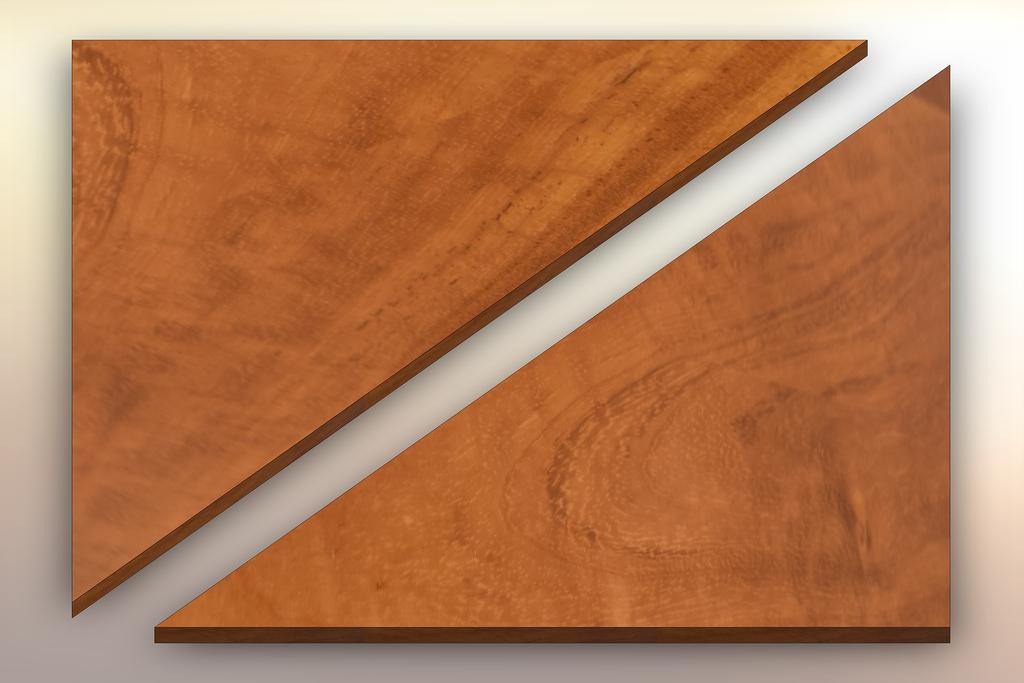 Iroko Winder Treads diagonally cut into two pieces.