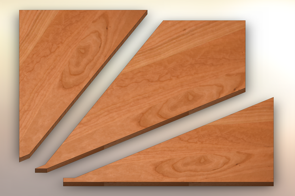Clear Cherry Winder Treads cut into three pieces.