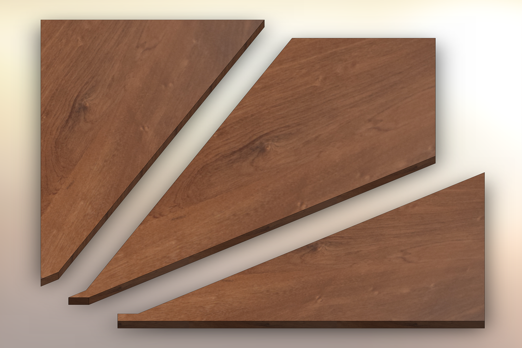 Sapele Winder Treads cut into three pieces.