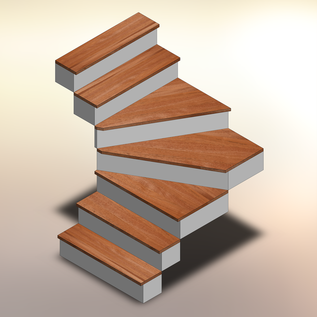 African Mahogany Winder Treads displayed on a staircase