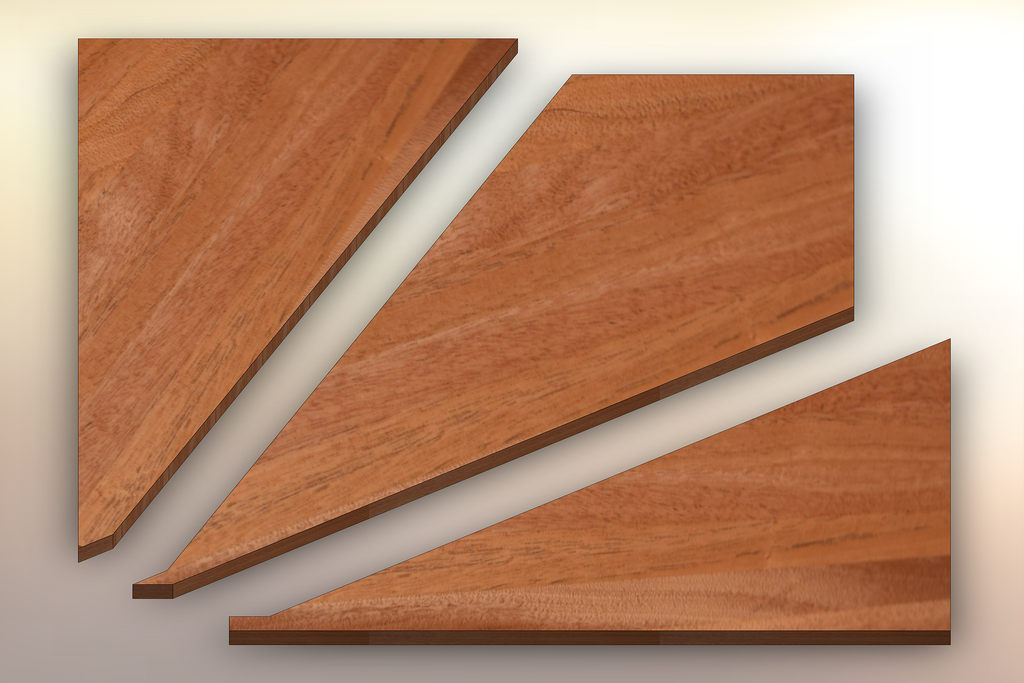 African Mahogany Winder Treads cut into three pieces.