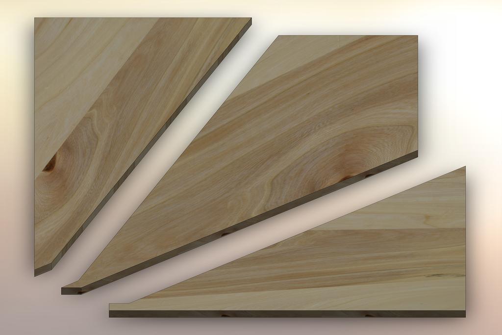 Grey Elm Winder Treads cut into three pieces.