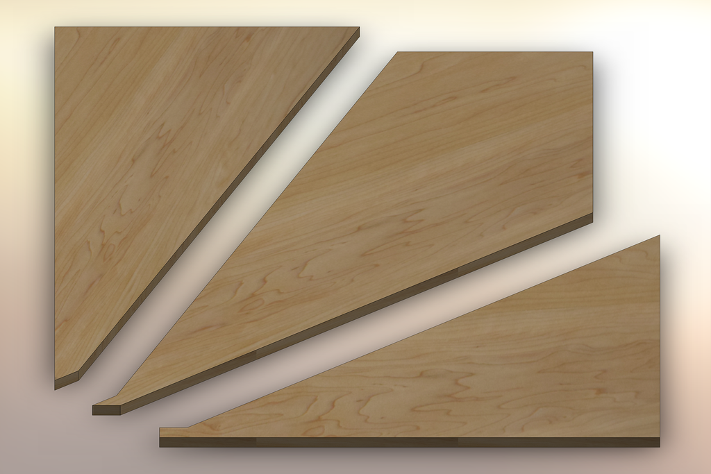 Soft Maple Winder Treads cut into three pieces.