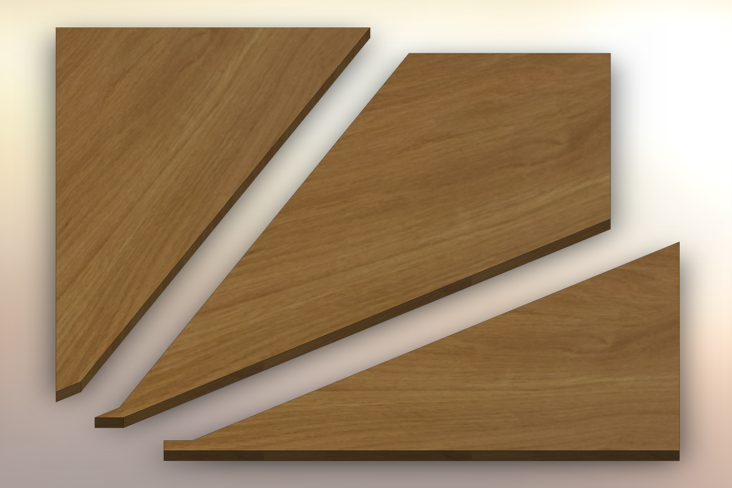 White Oak Winder Treads cut into three pieces.