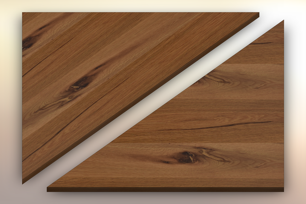 Rustic White Oak Winder Treads diagonally cut into two pieces.