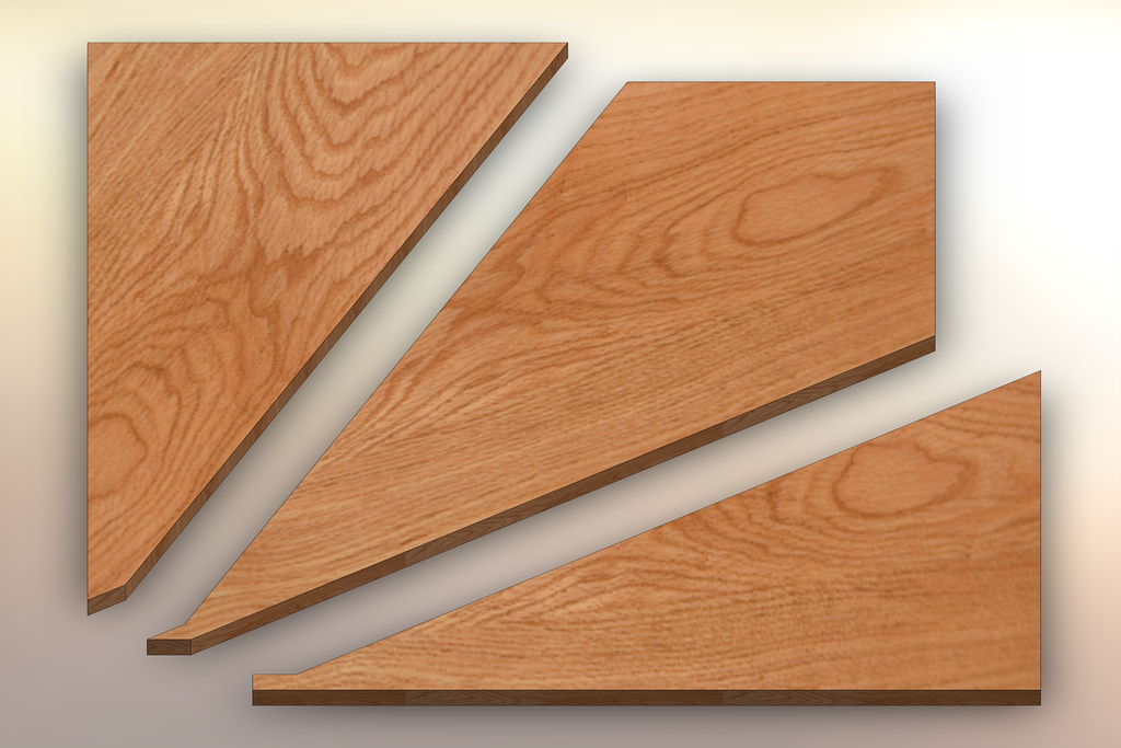 Red Oak Winder Treads cut into three pieces.