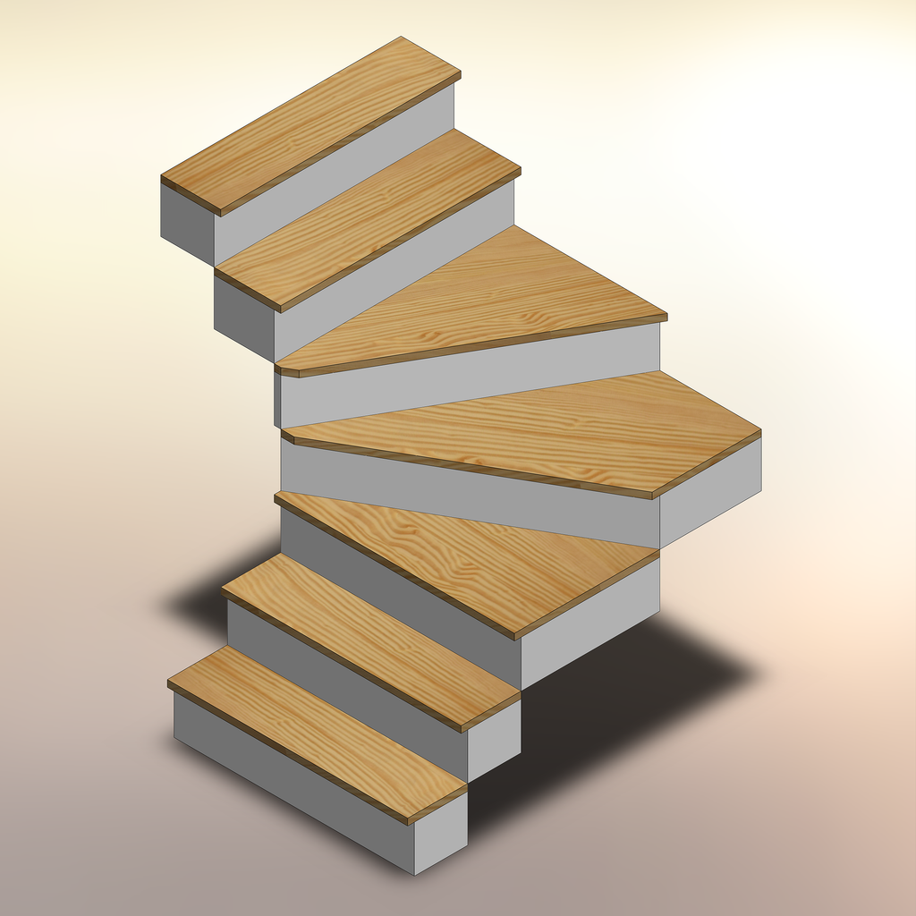 Yellow Pine Winder Treads displayed on a staircase.