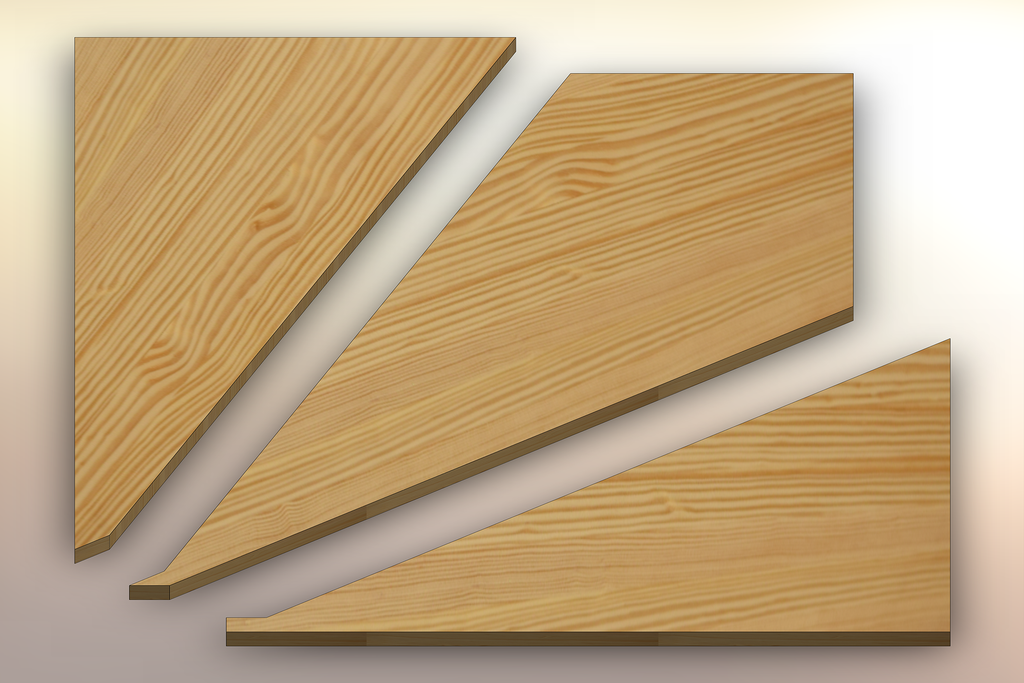 Yellow Pine Winder Treads cut into three pieces.