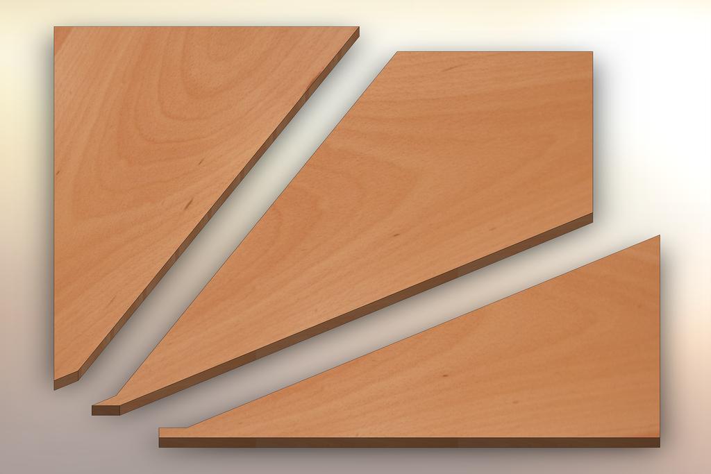 Beech Winder Treads cut into three pieces.