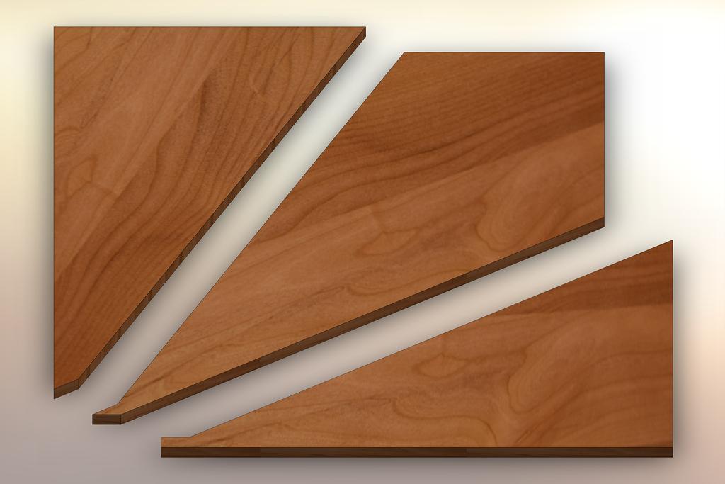 Clear Alder Winder Treads cut into three pieces.