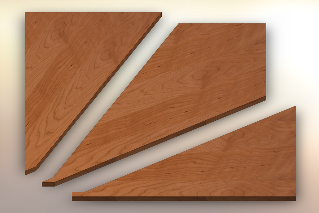 Rustic Cherry Winder Treads cut into three pieces.