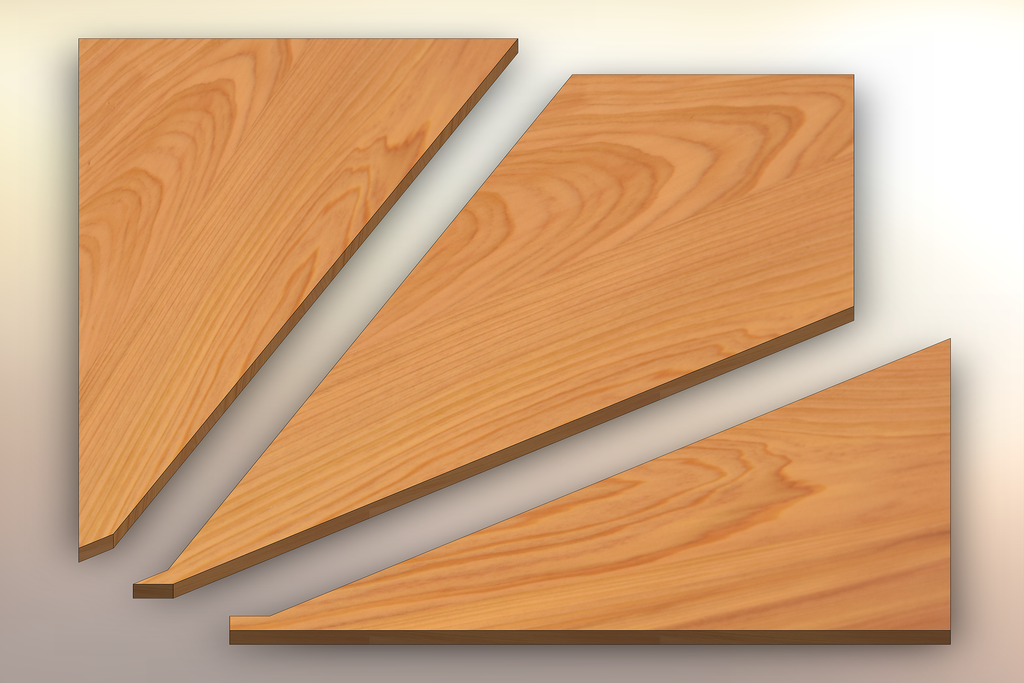 Cypress Winder Treads cut into three pieces.