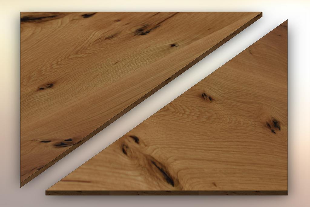 Live Sawn White Oak Winder Treads cut diagonally into two pieces.