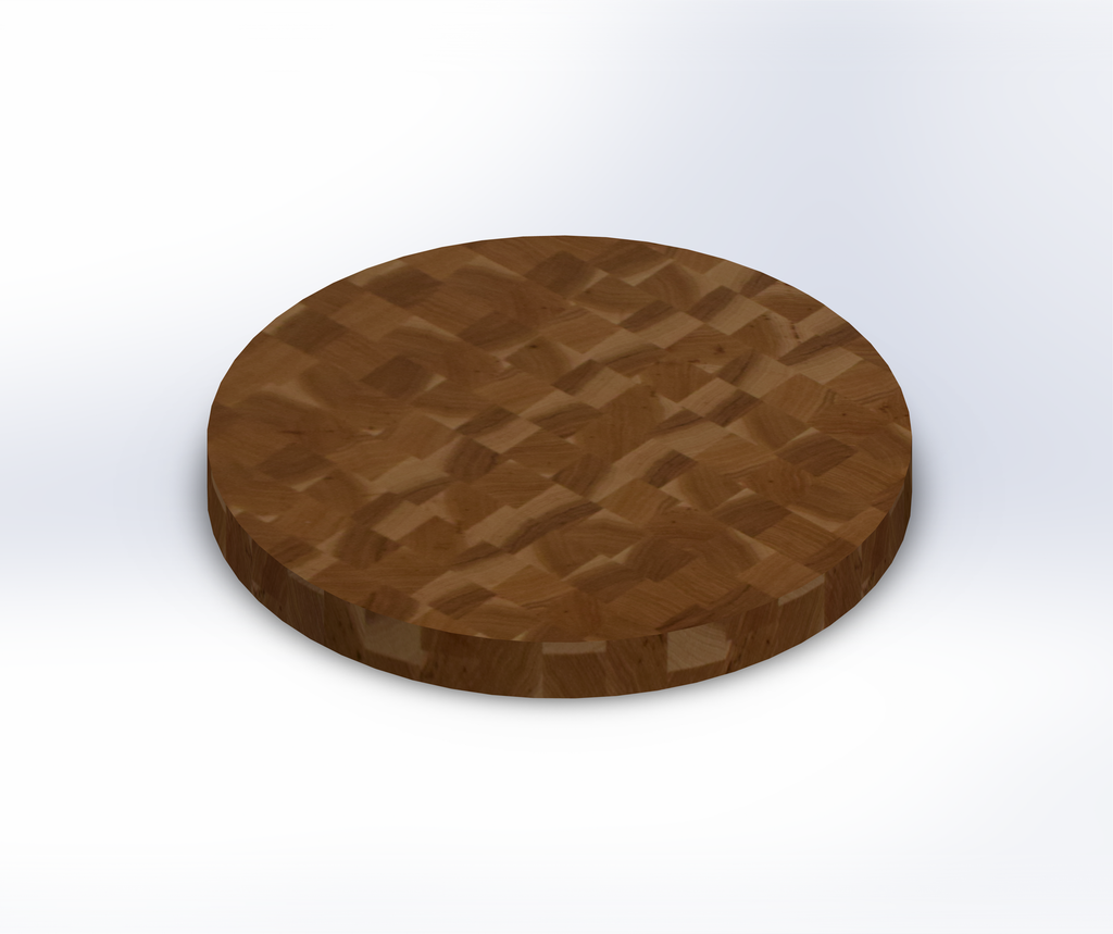 Round Hickory End Grain Butcher Block Table Top