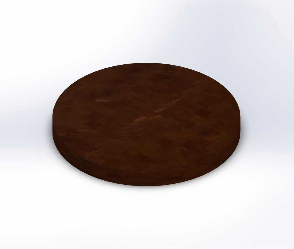 Round African Mahogany End Grain Butcher Block Table