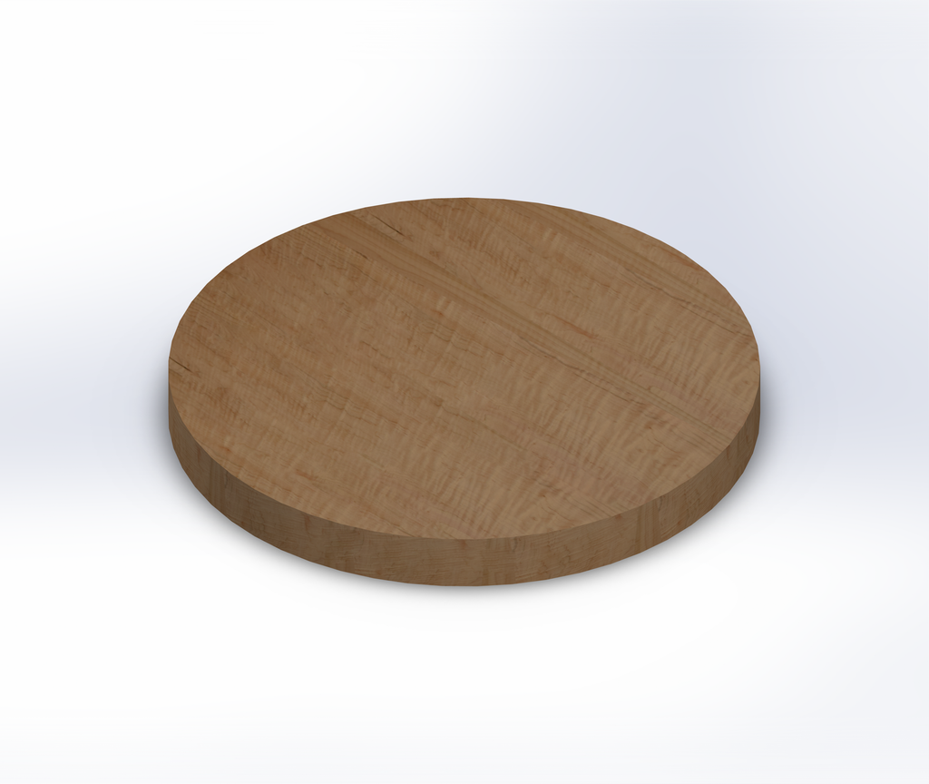 Round Curly Maple Wide Plank (Face Grain) Table Top