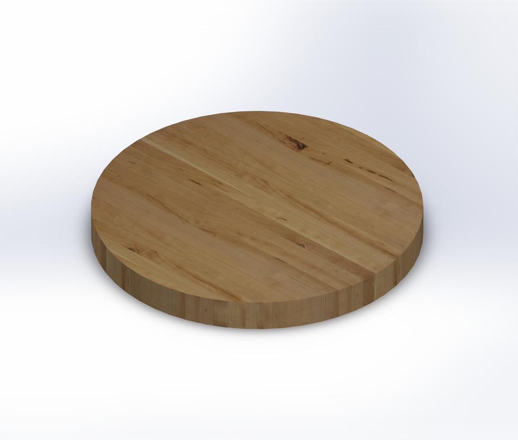 Round Rustic Cherry Edge Grain Butcher Block Table Top
