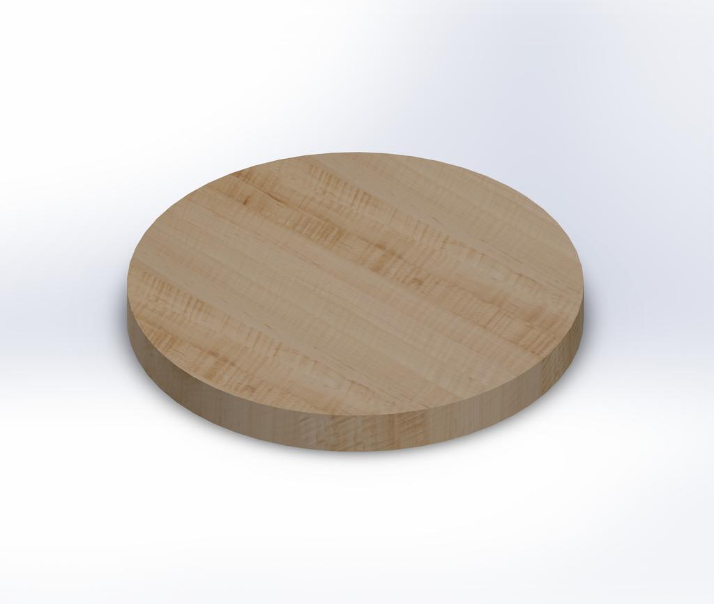 Round Curly Maple Edge Grain Butcher Block Table Top