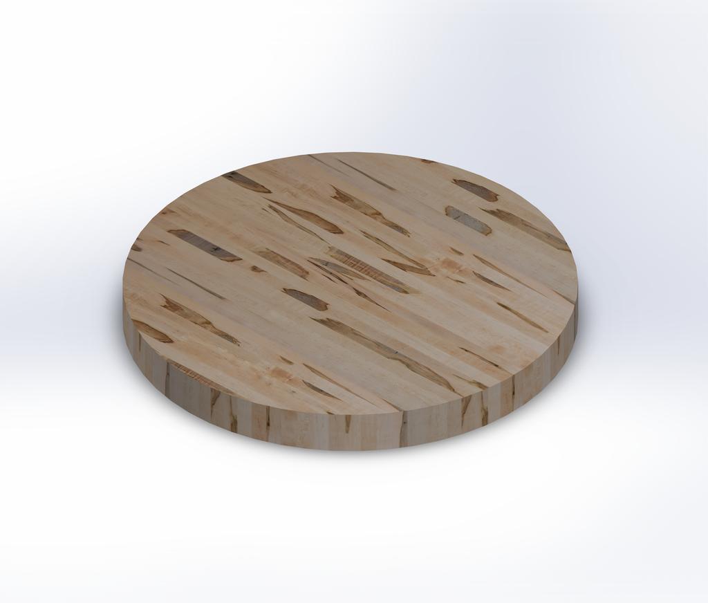 Round Wormy Maple Edge Grain Butcher Block Table Top