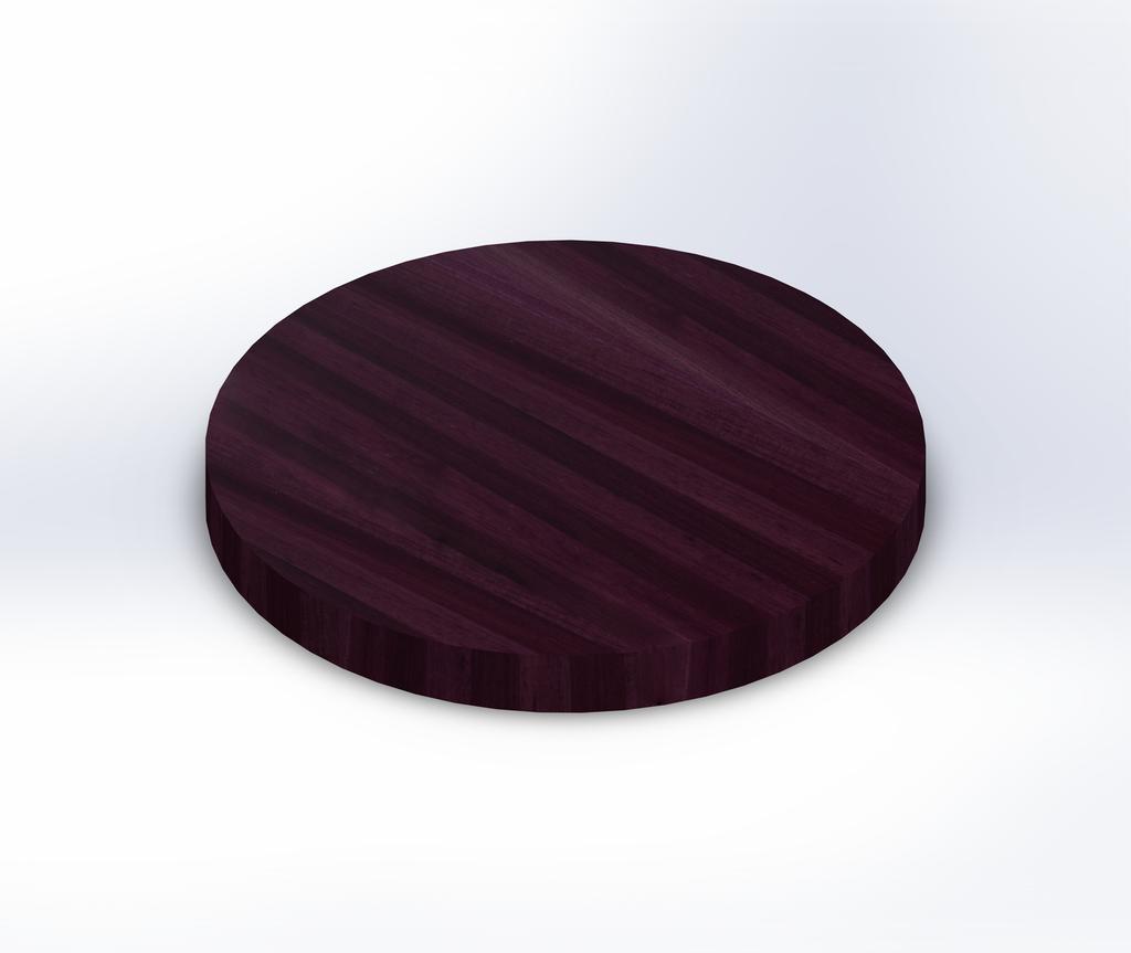 Round Purpleheart Edge Grain Butcher Block Table Top