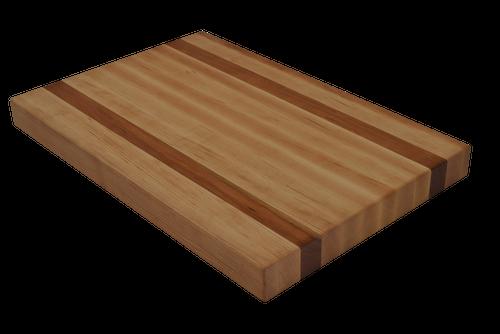 Maple Edge Grain Butcher Block Cutting Board with 2 Cherry Strips