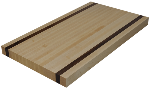 Maple Edge Grain Butcher Block Countertop with 2 Walnut Strips.