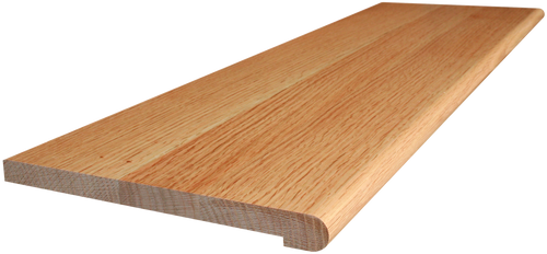 Quarter Sawn Red Oak Stair Tread with side angle pictures.