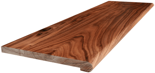 Clear Walnut Stair Tread with side angle picture.