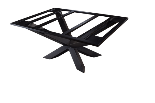 "Textured matte black powder coat finished metal table base that is 60"" wide x 42"" deep x 28"" high."
