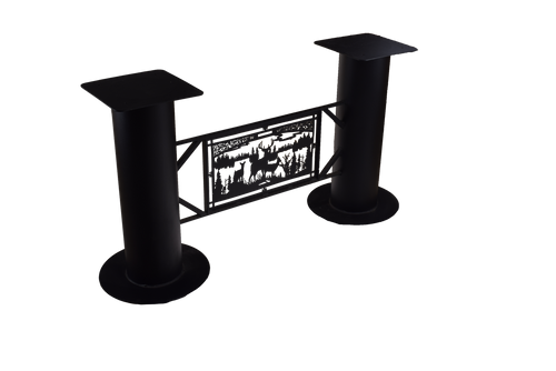 """Textured matte black powder coat finished metal table base 50"""" wide x 12"""" deep x 28"""" high."""