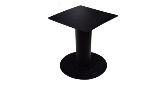 "Textured matte black powder coat finished metal table base 24"" wide x 24"" deep x 28"" high."