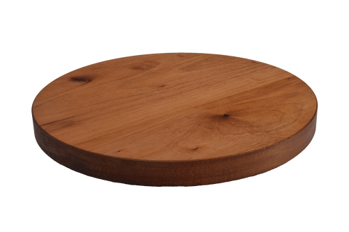 African Mahogany Wide Plank Round Cutting Board.