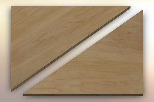 Hard Maple Winder Treads diagonally cut into two pieces.