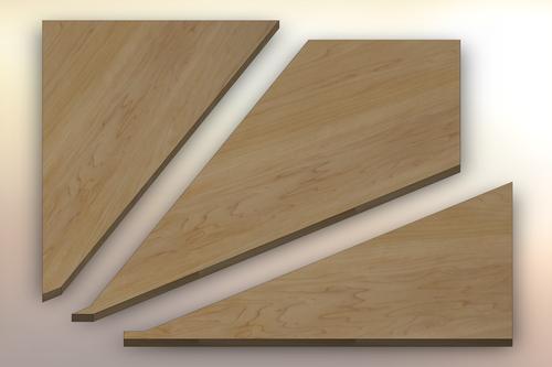 Hard Maple Winder Treads cut into three pieces.