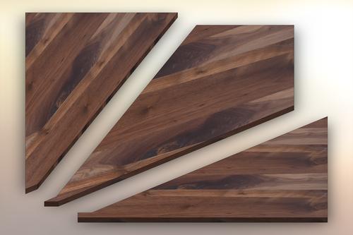 Rustic Walnut Winder Treads cut into three pieces.