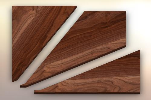 Walnut Winder Treads cut into three pieces.