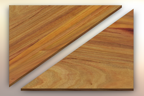 Canarywood Winder Treads diagonally cut into two pieces.