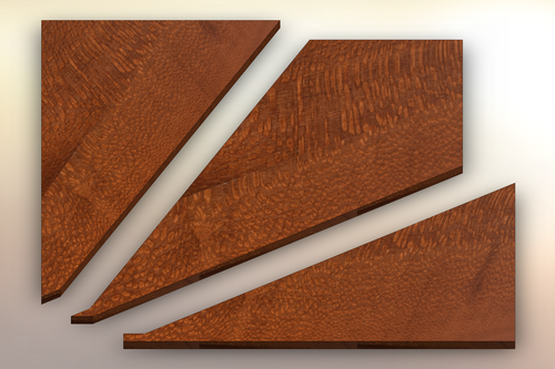 Leopardwood Winder Treads cut into three pieces.