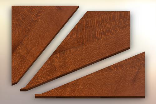 Leopardwood Winder Treads cut into three pieces.