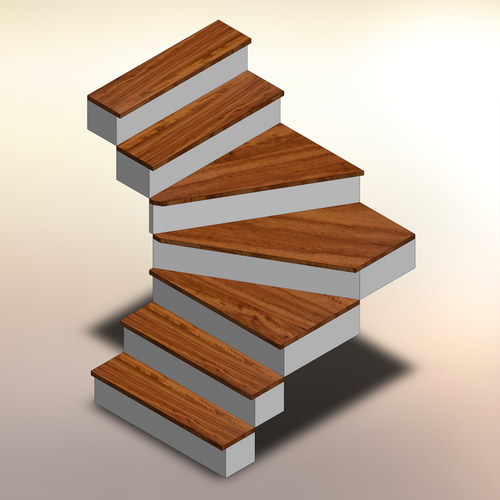 Tigerwood Winder Stair Treads