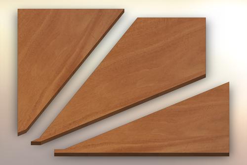 Genuine Mahogany Winder Treads cut into three pieces.