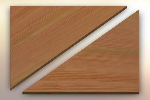 Douglas Fir Winder Treads diagonally cut into two pieces.