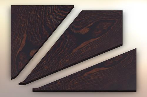 Purpleheart Winder Treads cut into three pieces.