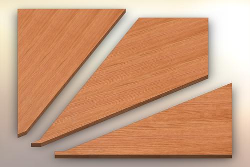 Rift Sawn Red Oak Winder Treads cut into three pieces.