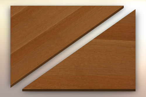 Rift Sawn White Oak Winder Treads diagonally cut into two pieces.